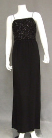 Black Crepe 1960's Evening Gown w/  Sequined Bodice