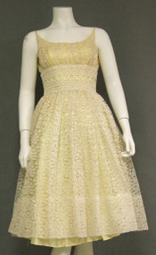 Charming Lemon Cream Lace 1960's Prom Dress