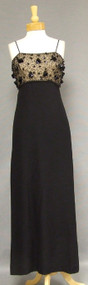 Beautiful Black Crepe 1960's Evening Dress w/ Beaded Chiffon Bodice