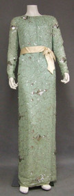Pale Green Silk Sarmi Evening Gown w/ Silver Sequins