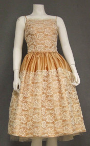 Apricot Satin & White Lace Vintage Cocktail Dress