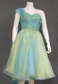 SWELL Aqua & Yellow Chiffon 1960's Cocktail Dress w/ Shoulder Scarf