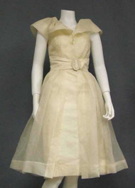 Unique Cream Organdy 1950's Cocktail Dress w/ Matching Overdress