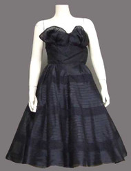 Navy Blue Organdy 1950's Cocktail Dress w/ Lace Insets
