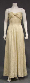 Ben Reig Strapless Cream Damask 1950's Evening Gown
