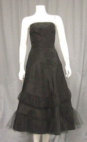 Beaded Black Taffeta 1950's Cocktail Dress w/ Gathered Tulle