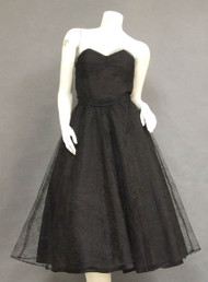 Black Tulle 1950's Cocktail Dress w/ Floral Pattern
