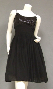 Pretty Black Chiffon Cocktail Dress w/ Sequined Bust