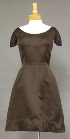 Delicious Chocolate 1960's Cocktail Dress w/ Bead Fringe Sleeves