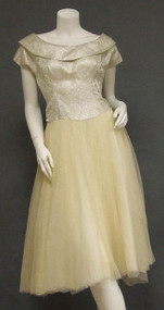 Shimmering Brocade & Cream Tulle 1950's Cocktail Dress