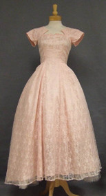 Pink Lace Evening Gown w/ Notched Neckline