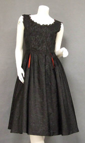 Black Moire Taffeta 1950's Cocktail Dress w/ RS & Red Trim