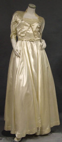 Shimmering Cream Satin 1940's Wedding Gown w/ Jacket