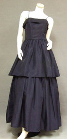 Fred Perlberg Navy Taffeta Evening Gown w/ Tiered Skirt