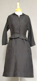 Elegant Black Faille 1950's Cocktail Dress w/ Rhinestone Buttons