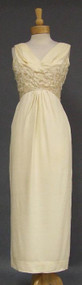 Elegant Cream Crepe 1960's Evening Dress w/ Dangling Beads