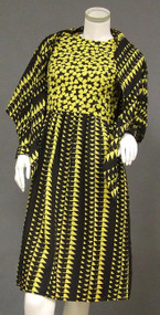BOLD Black & Yellow Crepe Sarmi w/ Matching Shawl