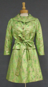SARMI Lime & Gold Brocade 1960's Cocktail Dress w/ Jacket