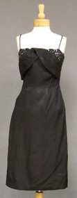 FAB Black & Pink Satin 1950's Wiggle Dress