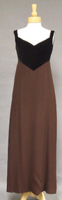 Lord & Taylor Sable Crepe & Black Velvet Late 1960's Evening Gown