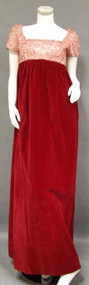 Elegant Sarmi Crimson Velvet & Embroidered Satin Juliet Gown