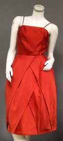 Sweet Valentine 1960's Red Satin Cocktail Dress