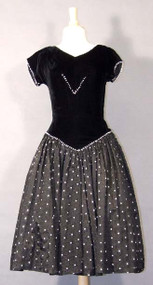 Black Velvet & Acetate 1950's Dress w/ Silver Trim
