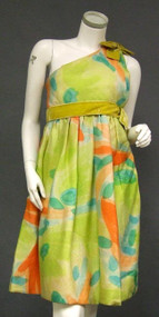 Colorful One Shouldered Silk Sarmi 1960's Cocktail Dress