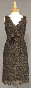 Wonderful Brown Cellophane Embroidered Lace 1960's Sarmi Cocktail Dress 1
