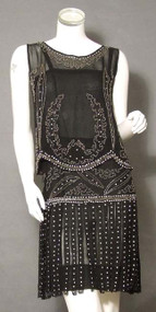 EXTRAORDINARY Beaded Black 1920's Dress Set w/ Carwash Hem