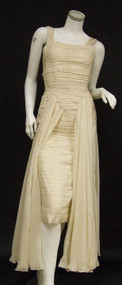 Sensuous Ivory Silk 1950's Jacques Fath Evening Gown