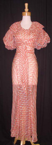 UNBELIEVABLE Red & White 1930's Bias Evening Gown w/ Jacket