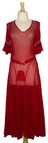 Magnificent Jean Patou Red Silk Early 1930's Evening Dress w/ Beading