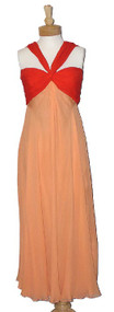 Bill Blass Two Toned Gathered Chiffon Goddess Halter Evening Gown