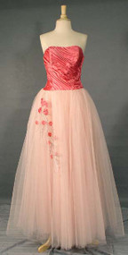 INCREDIBLE Pink Satin & Tulle 1950's Prom Gown w/ Beaded Accent
