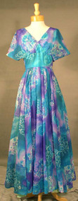 SWEEPING Helen Rose Teal & Violet Chiffon Evening Gown