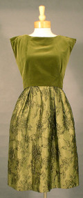 Beautiful Harvey Berin Olive Velveteen & Brocade Cocktail Dress