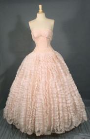 Magnificent Strapless Pink 1950's Ball Gown w/ Ruffles Galore