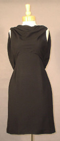 Graceful Oleg Cassini Black Crepe 1960's Cocktail Dress