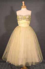 AMAZING Pale Lemon Tulle 1950's Prom Dress w/ Fantastic Embroidery