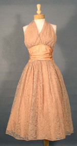 FABULOUS Claudia Young Apricot Lace 1950's Halter Dress