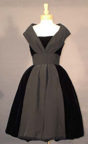 SUPERB Black Velvet 1950's Cocktail Dress w/ Faille Accents