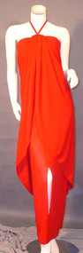 AMAZING Bill Blass Fiery Red Halter Gown