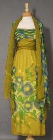 Elegant Malcolm Starr Printed Chiffon Evening Gown w/ Gathered Bodice & Matching Wrap