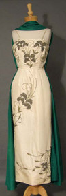 EXQUISITE Beaded Cream & Emerald Taffeta 1960's Evening Dress