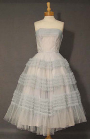 Fred Perlberg Cotton Candy Blue Tulle Strapless Prom Dress