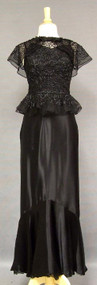 Delightful 1930's Satin Mermaid Gown w/ Appliqued Tulle Overblouse
