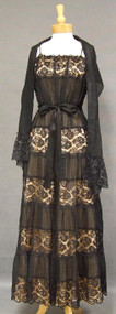 GLAMOROUS Black Cotton & Lace 1950's Evening Gown w/ Stole