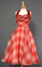 KNOCKOUT Red & White Organdy 1950's Halter Dress w/ Velvet Trim