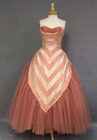 KNOCKOUT Striped Satin & Dark Rose Tulle 1950's Ball Gown